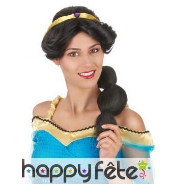 Perruque noire de princesse Orientale pour femme