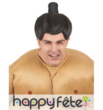 Perruque noire de sumo avec chignon