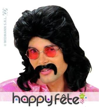 Perruque noire des annees 70 avec moustaches