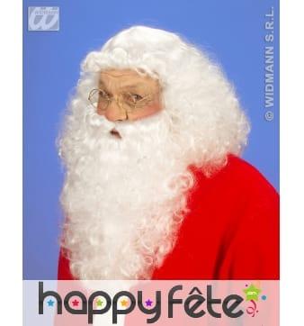 Perruque naturelle et barbe du Père Noël