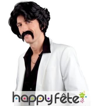 Perruque noire et moustache style années 70