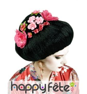 Perruque noire fleurie de geisha