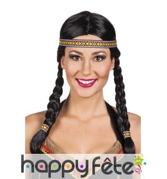 Perruque noire indienne avec tresses et bandeau