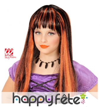 Perruque noire mèches orange pour enfant