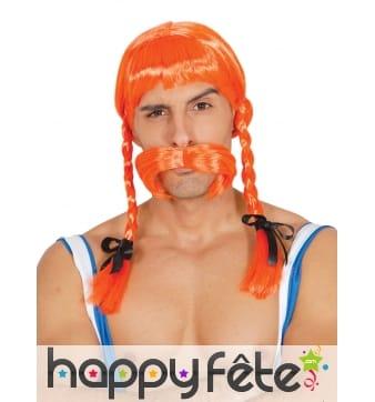 Perruque orange avec tresses pour homme