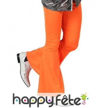 Pantalon orange disco pattes d'eph pour homme