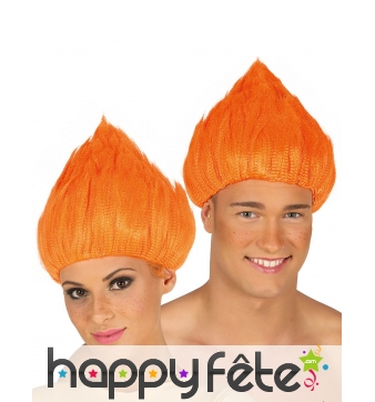 Perruque orange de troll pour adulte