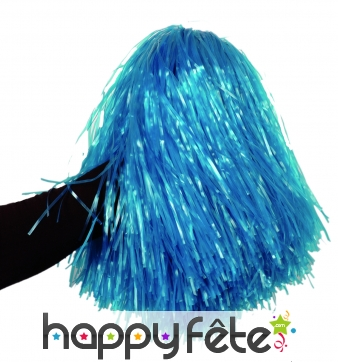Pom-pom bleu raphia nylon