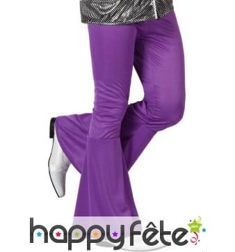 Pantalon patte d'éléphant violet pour homme