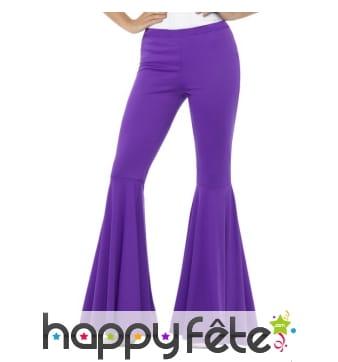 Pantalon patte d'eph violet pour femme