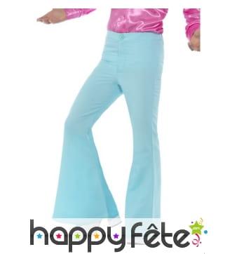 Pantalon pattes d'eph bleu pour homme