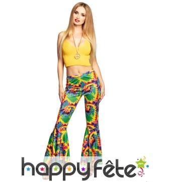 Pantalon pattes d'eph motif hippie coloré, femme