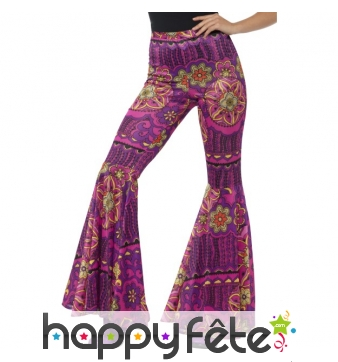 Pantalon pattes d'eph rose motifs hippie