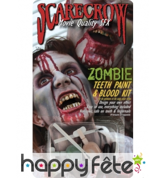 Peinture pour dents de zombie avec sang