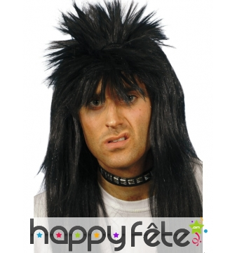 Perruque punk long cheveux noir