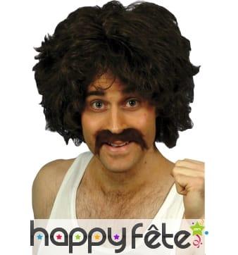 Perruque playboy retro noir avec moustache