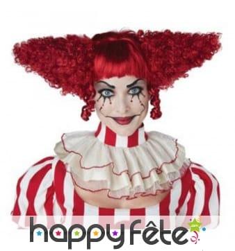 Perruque rouge de clown maléfique pour femme