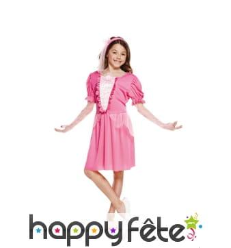 Petite robe rose de princesse pour fillette