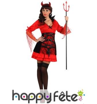 Petite robe rouge et noire de diablesse pour femme