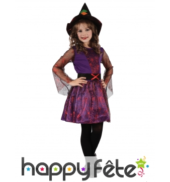 Petite sorcière araignée violette imprimé toile