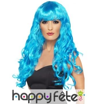 Perruque sirène bleu