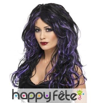 Perruque sorciere bouclée noir/violet