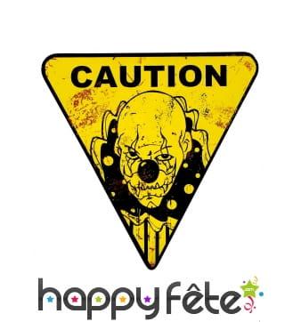 Panneau signalétique Caution clown sur fond jaune