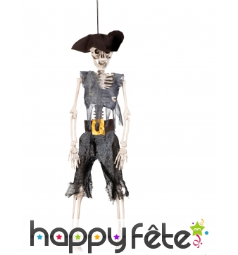 Pirate squelette décoratif de 40cm à suspendre