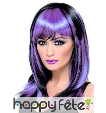 Perruque sorciere lisse noir/violet