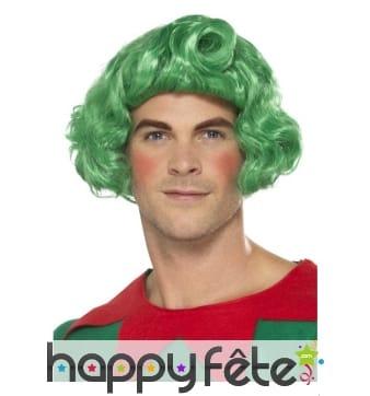 Perruque verte bouclée d'elf