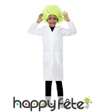 Perruque verte de scientifique fou pour enfant