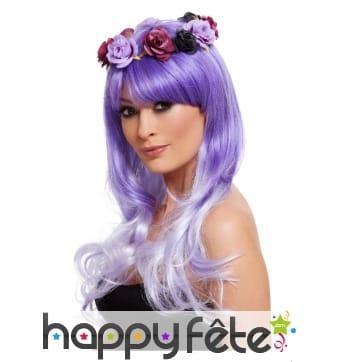 Perruque violette dia de los muertos
