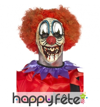 Prothèse visage de clown horrible en latex