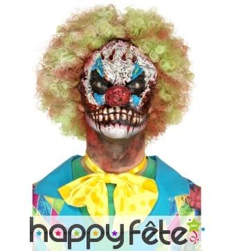 Prothèse visage de clown horrible, mousse de latex