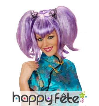 Perruque violette manga à double couettes