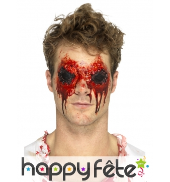 Prothèse yeux de zombie en latex