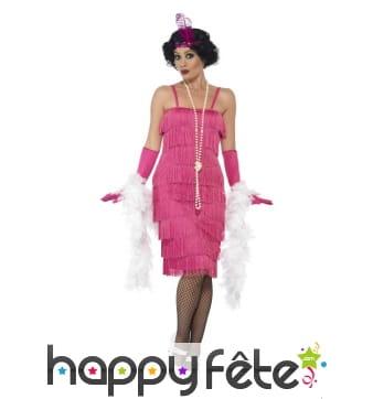 Robe années 20 à franges rose, flappers