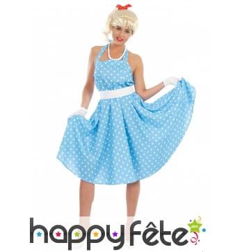 Robe année 50 style Pin-Up bleue à pois pour femme