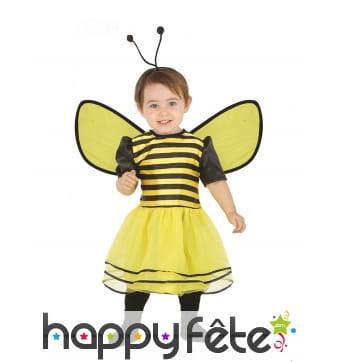 Robe abeille avec ailes et antennes pour bébé