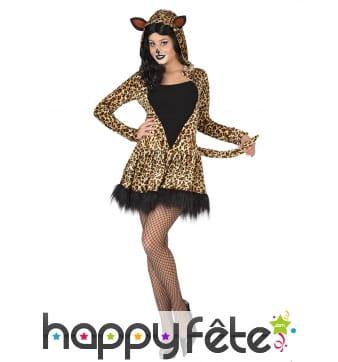 Robe à capuche de léopard pour femme