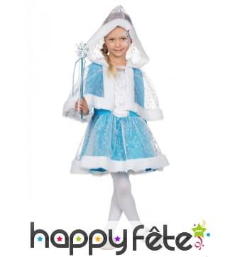 Robe avec cape de princesse des neiges pour enfant