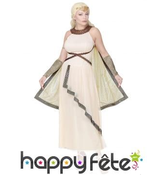 Robe blanche de déesse romaine avec cape