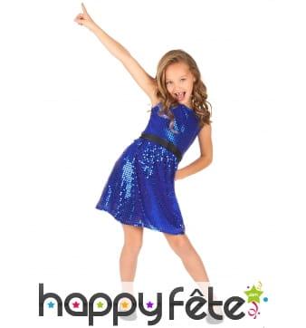 Robe bleue disco avec paillettes pour enfant