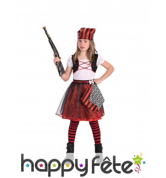Robe bouffante de pirate et son bandana pour fille