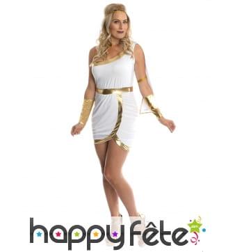 Robe blanche et dorée courte de déesse