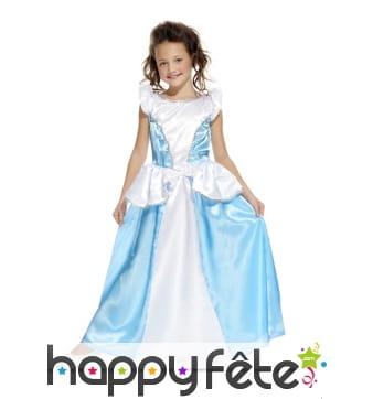 Robe bleue et blanche de petite princesse