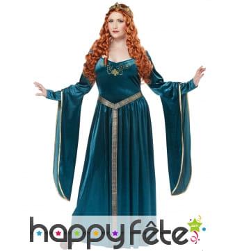 Robe bleue médiévale grande taille, avec couronne