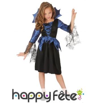 Robe bleue noir manches araignées pour fillette