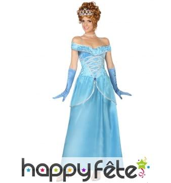 Robe bleue unie de princesse effet velours
