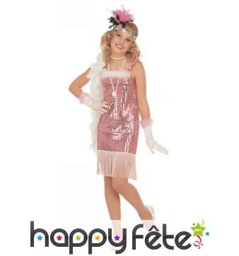 Robe cabaret à franges, rose pailleté pour enfant
